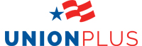 Union Plus logo with blue and red letting and a rippled flag design.